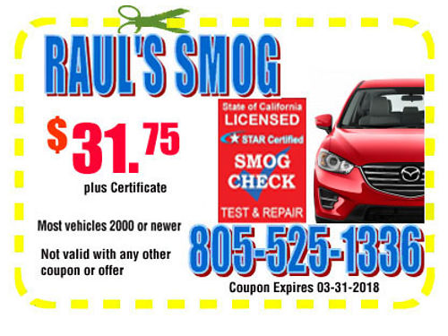 SMOG SPECIAL 3175  certificate valid for only 2000 or newer vehicles coupon expires 0731201