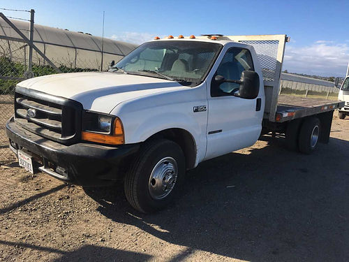 1999 FORD F350 FLATBED diesel auto 108K orig miles good tires new starter disk brakes  altern
