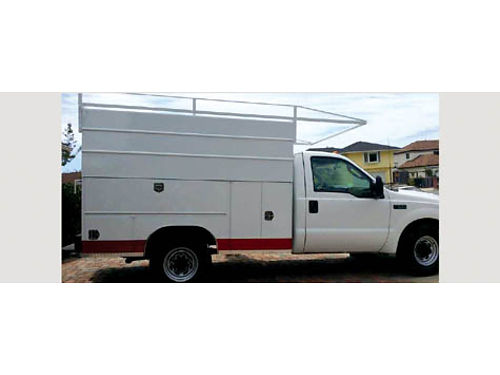 2003 FORD F-350 UTILITY TRUCK Super Duty 108073 miles lots of locked storage with ladder rack a
