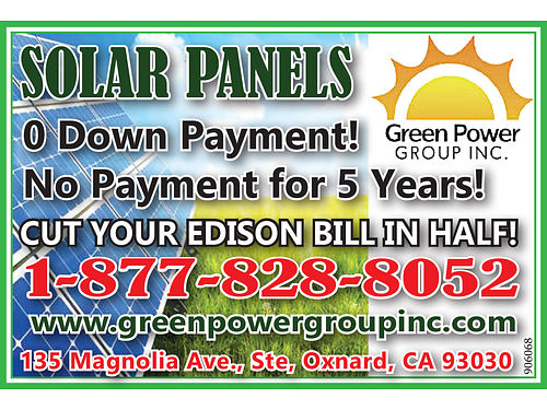 ATTN HOMEOWNERS AND COMMERICIAL BUSINESS OWNERS - GREEN POWERGROUP SOLAR PANELS