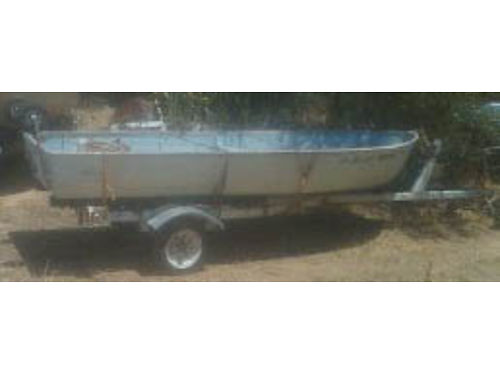 ALUMINUM BOAT 14 on trailer 15 HP Evinrude 2 cycle 1200