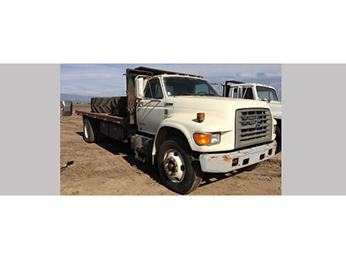 1995 FORD F800 FLATBED 18 bed Cummins Diesel w223860 miles runs good 2700