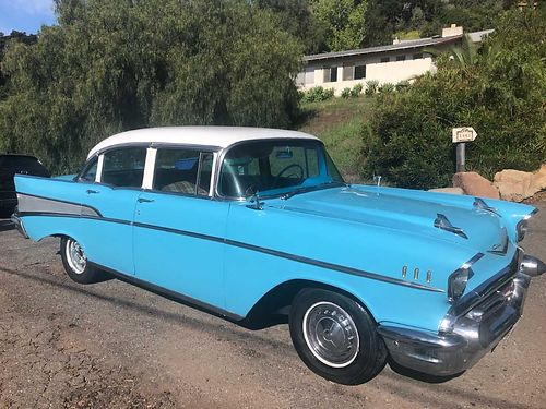 1957 CHEVY BELAIR 4dr 327 eng powerglide trans auto on column orig int body rust free garage