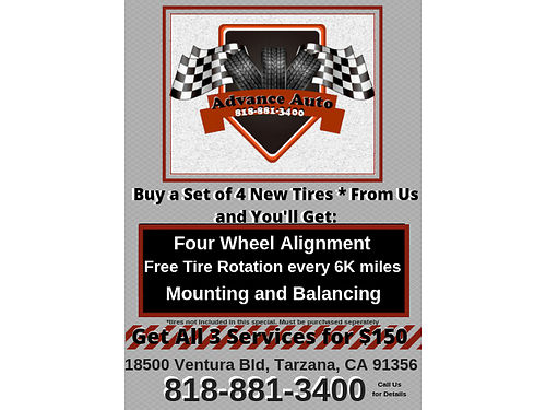 SERVICE SPECIAL - MOUNTING AND BALANCING 4 WHEEL ALIGNMENT AND TIRE ROTATION EVERY 6K MILES for 15