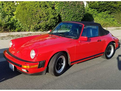 1986 PORSCHE 911 CAB drk red wblk lthr sport seats 104K mi CC stock except CD radio alarm
