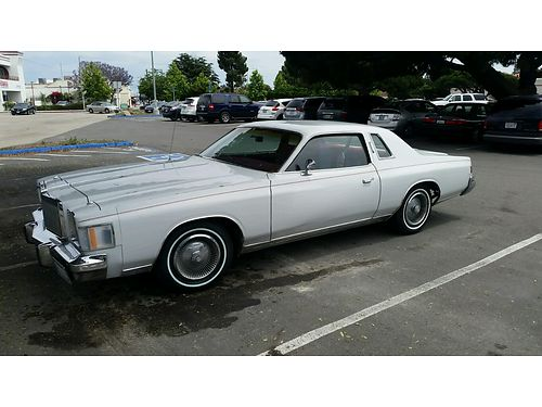 1979 CHRYSLER CORDOBA COUPE auto 360 4 BBL 2 new front tires 57K orig miles Senior owned int