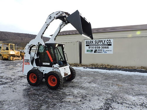 2012 Bobcat S185 Skid Steer Loader Cab heat air power quick attach new bucket Kubota turbo diese