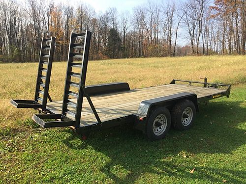 2010 PEQUEA Equipment Trailer flat bed 16 model MP-16 10000 lbs GVW have title LN 1975