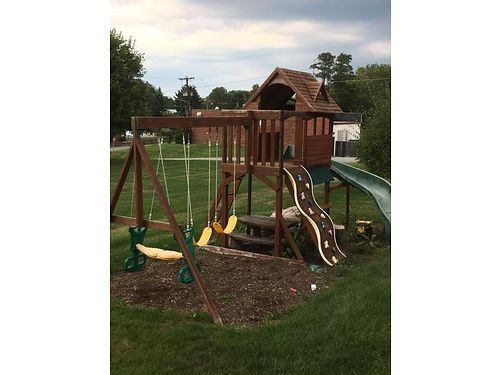 PLAYSET- solid wood 2 swings 1 glider 2 story club house curved slide rock climbing wall  sandb