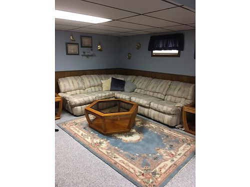 SECTIONAL- No rips stains or tears 1 end recliners pull out Queen size bed  corner unit VGC