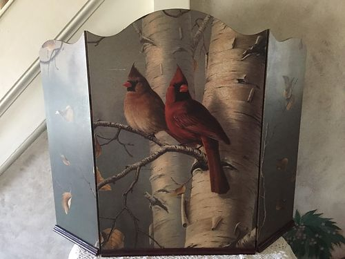 CARDINAL Decorative Fireplace Screen 30Hx40W picture of 2 Cardinals perched on a Birch Tree GC