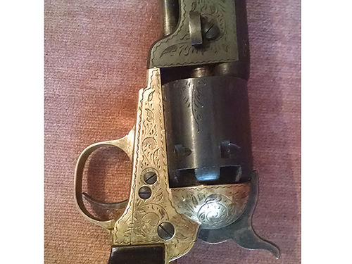 PISTOL ENGRAVED 1851 Navy Colt 36cal reproduction black powder Italy made 7  12 inch barrel 2