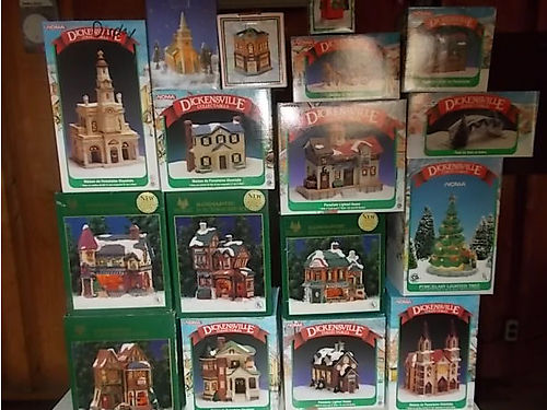 CHRISTMAS VILLAGE complete w5 large buildings  several small pieces Dickensonville train beautif