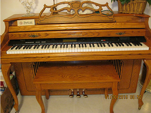 PIANO Kohler digital grand type electric piano Solid Oak wbrass feet very beautiful sound many d