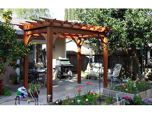 GRECIAN PERGOLA Hampton Bay rust proof aluminum framing decorative cross beams included mahogany