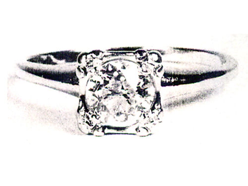 DIAMOND RING ladies solitaire 80 carat on 14K white gold European cut in antique style head size