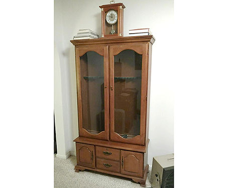 GUN CABINET birch rack for 10 long guns glass front wlockable bottom storage 350 or trade guns