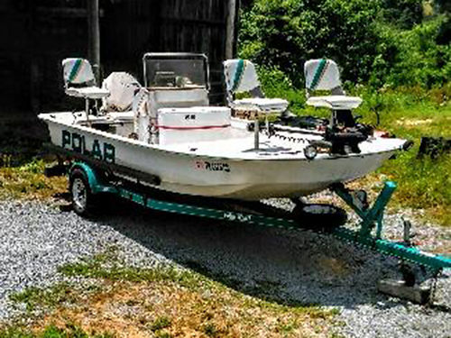 1998 POLAR CRAFT center steer fishing boat 17 Johnson 90hp w115 carbs 998 Humingbird fish finde