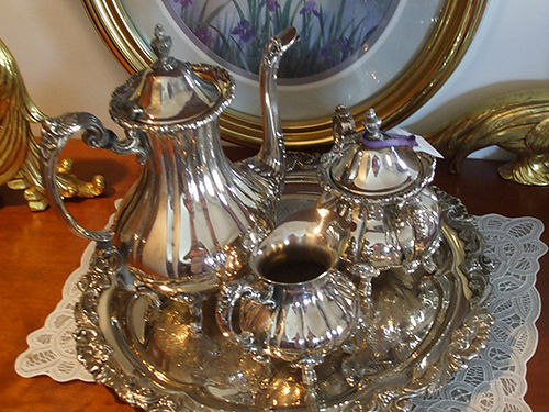 TEA SERVER SET Silver 4pc 150 obo 423-538-4195 leave message