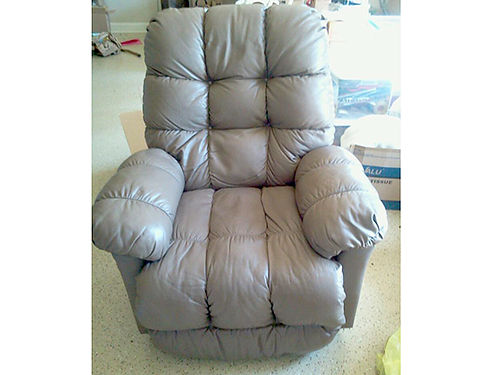 RECLINER leather rocker taupe color EC smoke free home 250 423-257-5587 423-444-1586