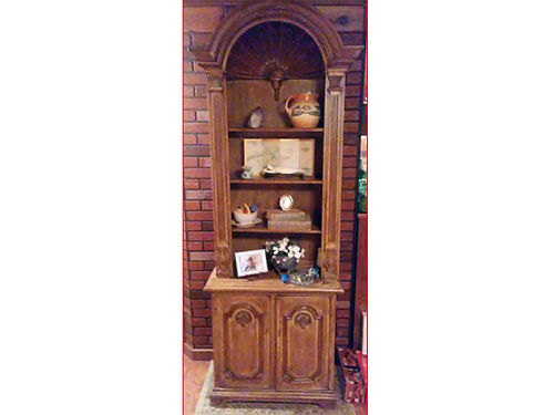 CURIO CABINET hand carved 2pc 10ft tall family heirloom all hard wood 1000 276-378-5261