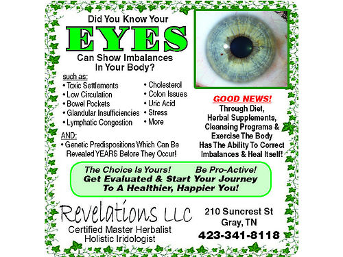 REVELATIONS LLC Your Eyes Are The Windows To Your Soul AND Your Health Call For Your Evaluation 42