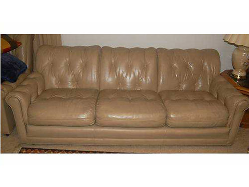 LIVING ROOM SUITE couch  chair beige leather from Leather Craft Inc removable cushions zipper