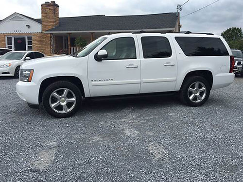 2007 CHEVY SUBURBAN LT 1500 white 4WD tow hitch 4dr v8 auto loaded pw pl cd leather M1180