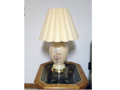 LAMPS two beige lamps with delicate floral print beige shad golden base very nice 100 for both