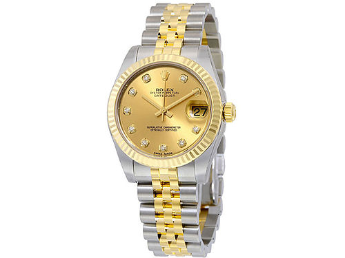 WATCH mens Datejust mdl 16233 synthetic sapphire crystal diamonds at 11 positions 18K gold  st