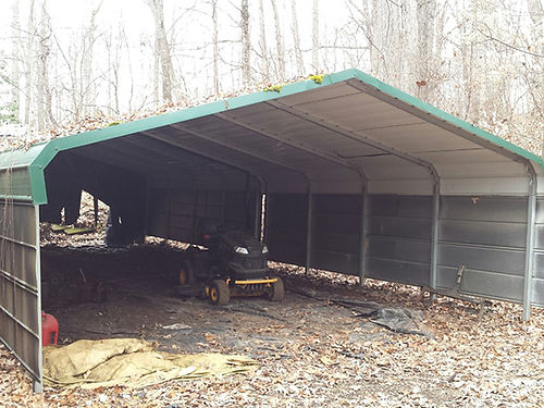 DOUBLE CARPORTS 2 portable carports both green with side walls very heavy duty asking 1600 for