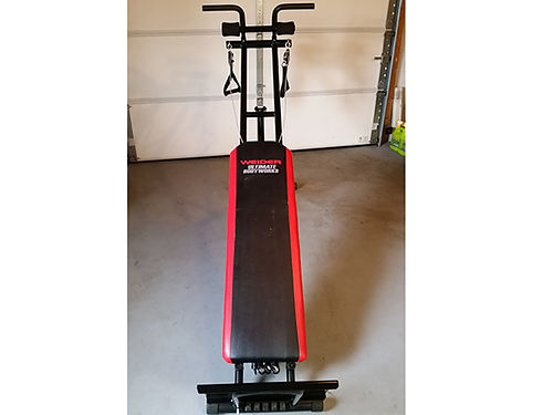 WEIDER ULTIMATE BODY WORKS adjustable incline bench cable pulley system resistance bands space sa