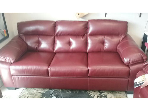 SOFA  LOVESEAT burgundy performance fabric looks like leather like new 799 423-207-6676