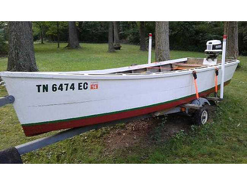 MARYLAND CRAB BOAT 16 25hp Evinrude classic flat bottom wooden boat incl excellent trailer 950