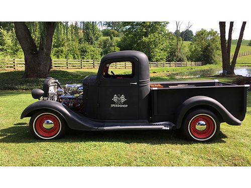 1937 CHEVROLET PICKUP black chromed 350 V8 auto Walnut bed battery box whitewall tires garage