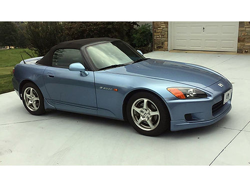 2002 HONDA S2000 6sp blue body and interior black top trunk spoiler side strakes front underbod