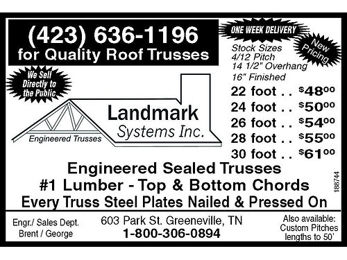 Engineered Sealed TRUSSES Landmark Systems Greeneville TN 423-636-1197
