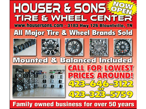TIRES  WHEELS Houser  Sons Used Cars 3067 Hwy 126 Blountville TN 423-323-5759