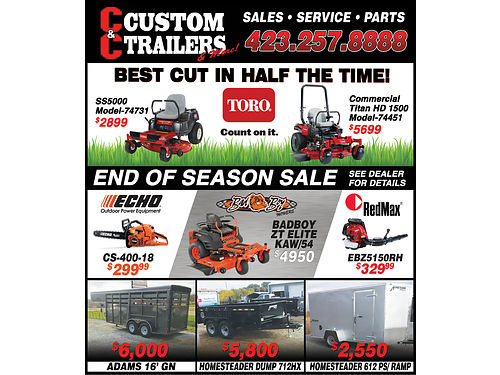 CC CUSTOM TRAILERS  MORE 7090 E Andrew Johnson Hwy Chuckey TN 866-217-0720