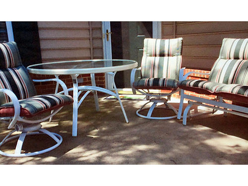 PATIO FURNITURE SET 2 swivel chairs loveseat glider incl all cushions 48 diameter glass top ta