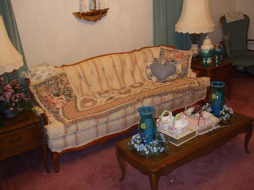 LIVING ROOM SET French  Victorian Provencial living room set couch chair coffee table 2 end t