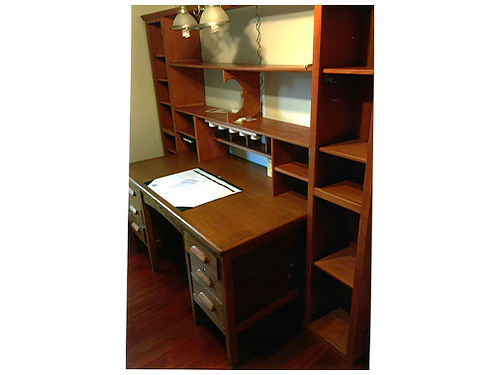 DESK  BOOKCASE large oak desk  book case sold as set 450 obo 423-538-4195