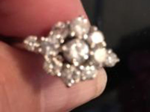 DIAMOND RING custom made 135ct cluster diamonds white gold mounting size 8 500 276-591-5311