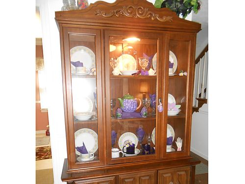 CHINA CABINET solid wood hutch Mediterranean style center glass door 2 side d