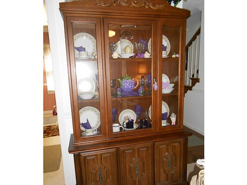 CHINA CABINET SOLID WOOD HUTCH, MEDITERRANEAN STYLE, ...
