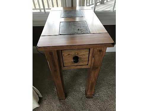 END TABLE Oak wslate top excellent condition same as new 375 Knoxville 865-441-2947 see pho