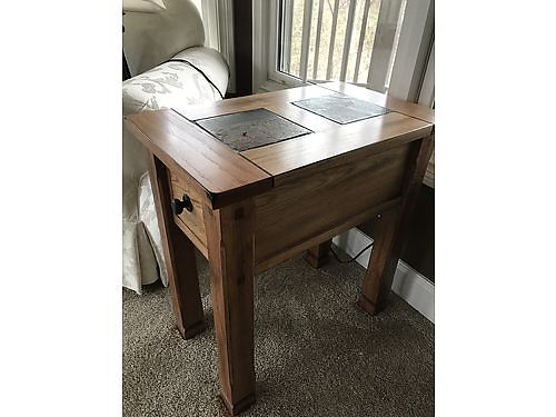 END TABLE, OAK, W/SLATE TOP, EXCELLENT CONDITION, ...