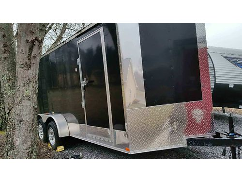 CARGO TRAILER by Freedom 16 enclosed V-nose trailer black 2 axle mag wheels