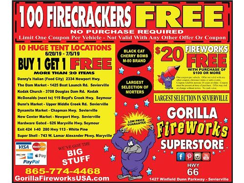FIREWORKS TENTS BUY 1 GET 1 FREE More than 20 Items Weve Got The BIG STUFF