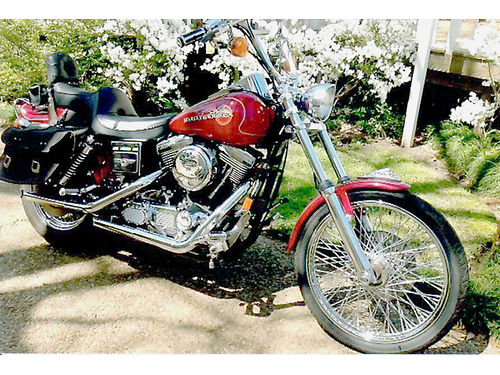 1995 HARLEY DAVIDSON FXDWG WIDE GLIDE 17547 miles detachable windshield  leather saddlebags sto